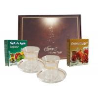 Teegläserset Goldrand in Geschenkbox mit Tee